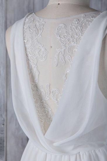 Elegant A-Line Chiffon Wedding Dress Appliques Ruffles Draped Back Bridal Gowns Online_5
