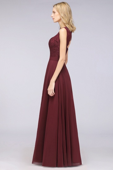 BMbridal Modest Chiffon V-Neck Burgundy Lace Bridesmaid Dresses Online_56