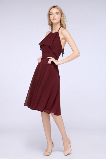 Gorgeous Halter Sleeveless Chiffon Short Bridesmaid Dress with Ruffle_5