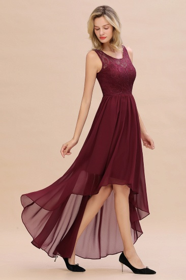 Affordable Hi-Lo Lace Sleeveless Burgundy Chiffon Bridesmaid Dress Online_7
