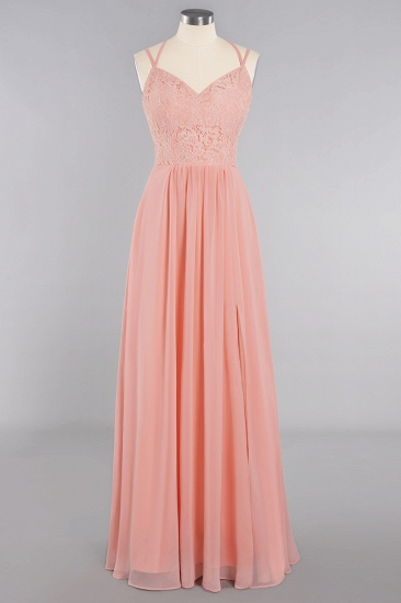 Sexy Spaghetti-Straps Coral Lace Bridesmaid Dresses with Slit_60