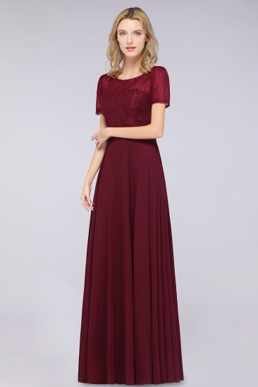 Chic Lace Long Burgundy Backless Bridesmaid Dress With Short-Sleeves_5