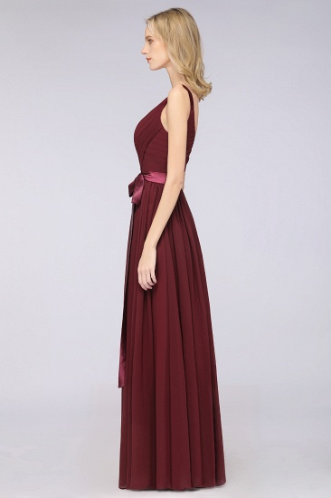 Chic V-Neck Straps Ruffle Burgundy Bridesmaid Dresses with Bow Sash_56