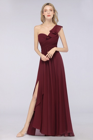 BMbridal Gorgeous Sweetheart Ruffle Burgundy Chiffon Bridesmaid Dress With One-shoulder_1