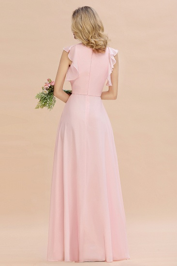 Simple Jewel Draped Sleeves Blushing Pink Bridesmaid Dress Online_3