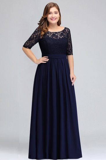 BMbridal Plus Size Elegant Half-Sleeves Lace Bridesmaid Dresses with Bow_2