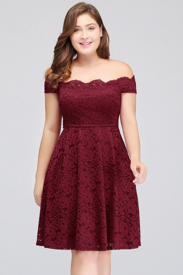 Plus Size Off-the-Shoulder Burgundy Lace Short Bridesmaid Dress Online_1