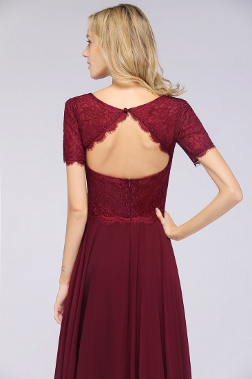 Chic Lace Long Burgundy Backless Bridesmaid Dress With Short-Sleeves_9