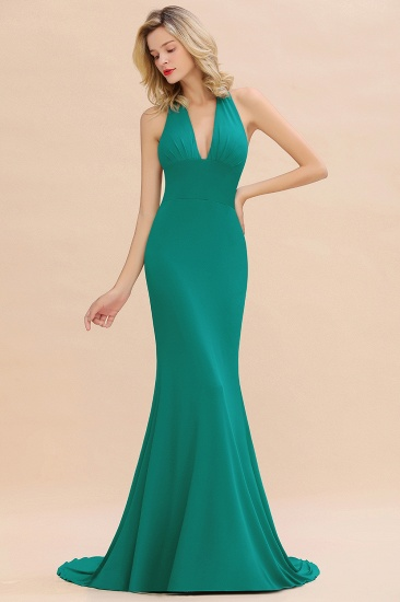 Mermaid Halter V-Neck Dark Green Chiffon Bridesmaid Dress with Open Back_34