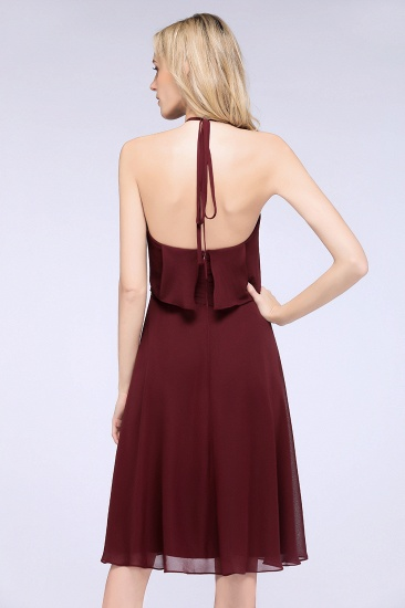 Gorgeous Halter Sleeveless Chiffon Short Bridesmaid Dress with Ruffle_9