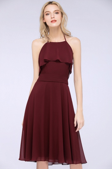 Gorgeous Halter Sleeveless Chiffon Short Bridesmaid Dress with Ruffle_7