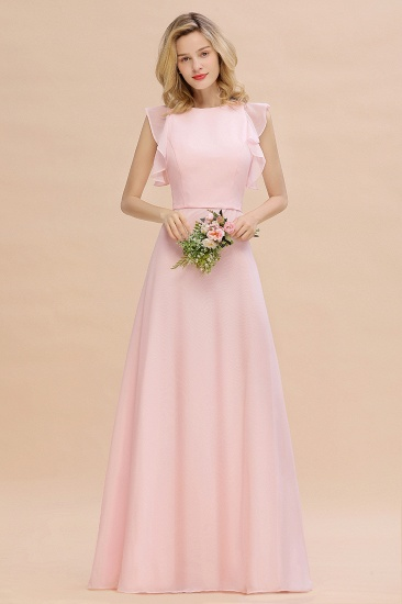 Simple Jewel Draped Sleeves Blushing Pink Bridesmaid Dress Online_2