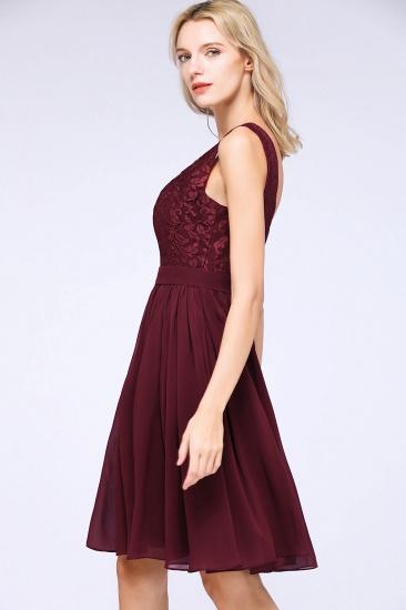 Elegant Lace V-Neck Short Burgundy Chiffon Bridesmaid Dress with Ruffle_6