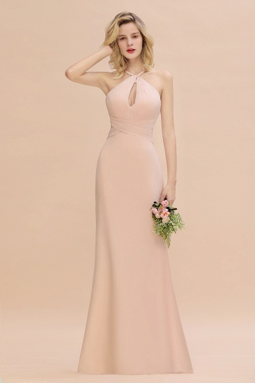 Chic Mermaid Keyhole Pink Chiffon Long Bridesmaid Dress Cheap with Ruffle