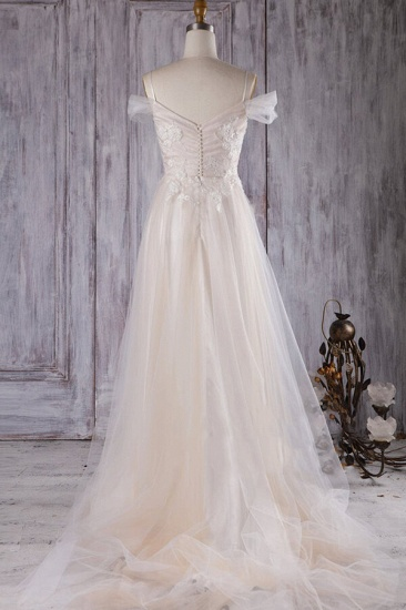 BMbridal Elegant Cold-shoulder Wedding Dress Sweetheart Appliques Ruffles Bridal Gowns Online_4