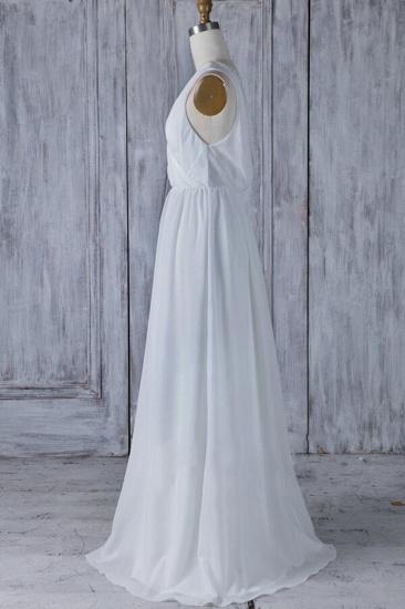 Elegant A-Line Chiffon Wedding Dress Appliques Ruffles Draped Back Bridal Gowns Online_4