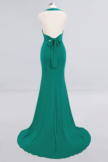 Mermaid Halter V-Neck Dark Green Chiffon Bridesmaid Dress with Open Back_40