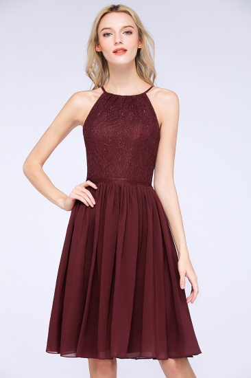 Lovely Burgundy Lace Short Bridesmaid Dress With Spaghetti-Straps_55