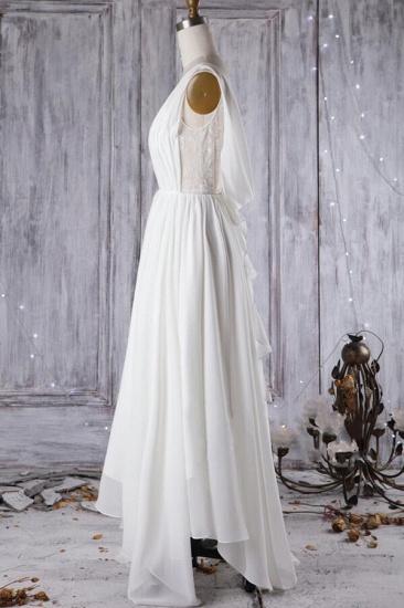 Affordable Asymmetric Chiffon Wedding Dress Lace Appliques Ruffles Bridal Gowns On Sale_4