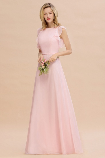 Simple Jewel Draped Sleeves Blushing Pink Bridesmaid Dress Online_5