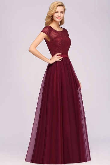 Elegant Lace Cap Sleeves Burgundy Bridesmaid Dresses Cheap_6