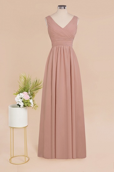Elegant V-Neck Dusty Rose Chiffon Bridesmaid Dress with Ruffle_59