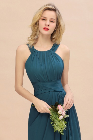 Elegant Round Neck Sleeveless Stormy Bridesmaid Dress with Ruffles_57