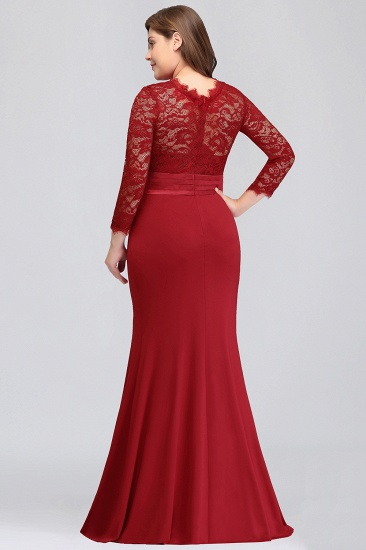 Plus Size Mermaid Long Red Lace Bridesmaid Dresses with 3/4 Sleeves_3