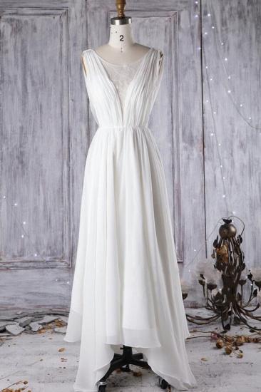 Affordable Asymmetric Chiffon Wedding Dress Lace Appliques Ruffles Bridal Gowns On Sale_1