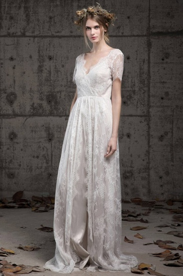 BMbridal Elegant A-line Lace Wedding Dress Short Sleeves Appliques Bridal Gowns Online_1