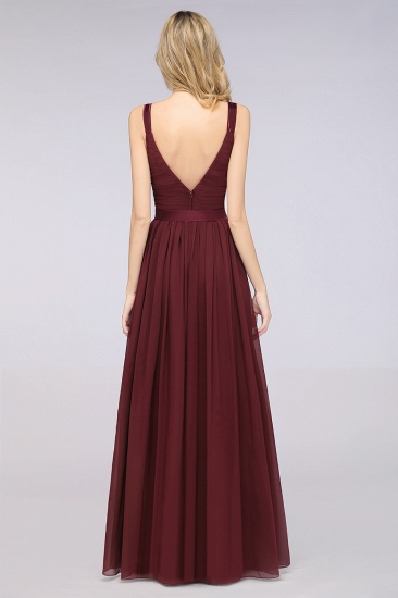 BMbridal Chic V-Neck Straps Ruffle Burgundy Bridesmaid Dresses with Bow Sash_52