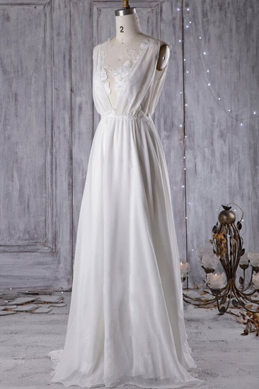 BMbridal Sexy A-line V-Neck Chiffon Wedding Dress Sleeveless Lace Appliques Bridal Gowns On Sale_1