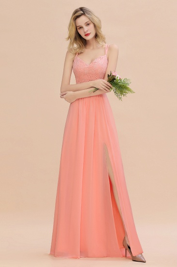 BMbridal Sexy Spaghetti-Straps Coral Lace Bridesmaid Dresses with Slit_54