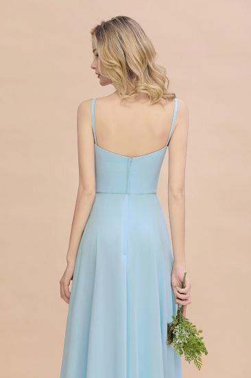 Affordable Spaghetti-Straps Slit Long Chiffon Bridesmaid Dress with Ruffle_9