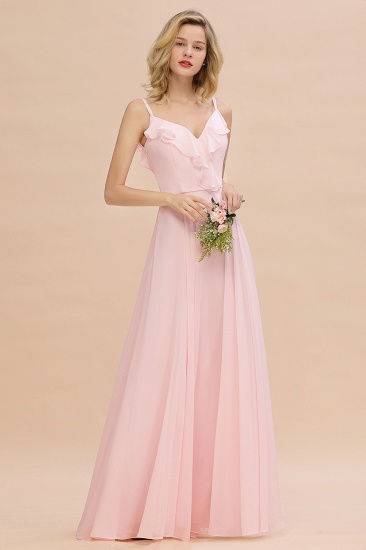 Stylish Draped V-Neck Pink Chiffon Bridesmaid Dress with Spaghetti Straps_6