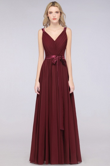 Chic V-Neck Straps Ruffle Burgundy Bridesmaid Dresses with Bow Sash_53