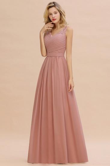 Elegant V-Neck Ruffle Dusty Rose Chiffon Lace Bridesmaid Dresses Online_1