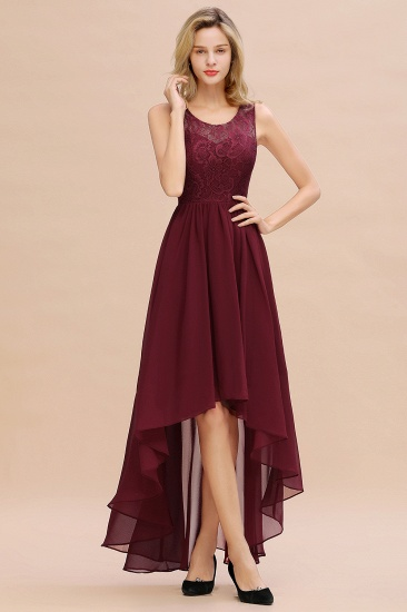 Affordable Hi-Lo Lace Sleeveless Burgundy Bridesmaid Dress
