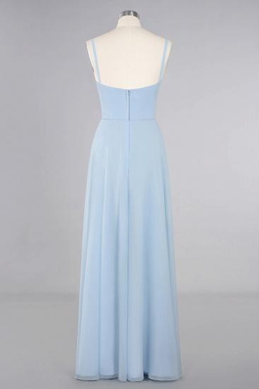 Affordable Spaghetti-Straps Slit Long Chiffon Bridesmaid Dress with Ruffle_11