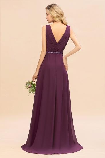 Chic Hi-Lo V Neck Ruffle Bridesmaid Dress with Beading Sash_3