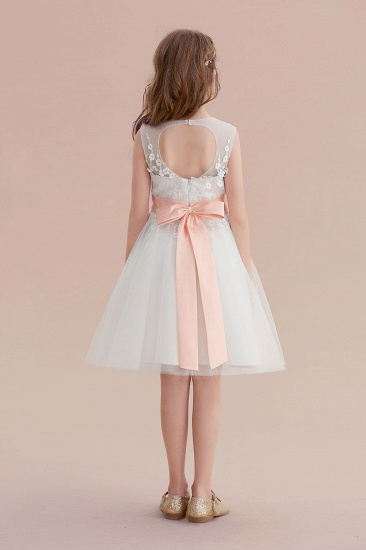 BMbridal A-Line Illusion Appliques Tulle Flower Girl Dress Online_3