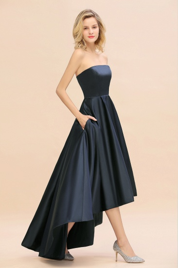 BMbridal Affordable Hi-Lo Strapless Satin Bridesmaid dresses Online_7