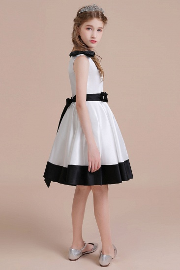 BMbridal A-Line Latest Satin Knee Length Flower Girl Dress Online_6