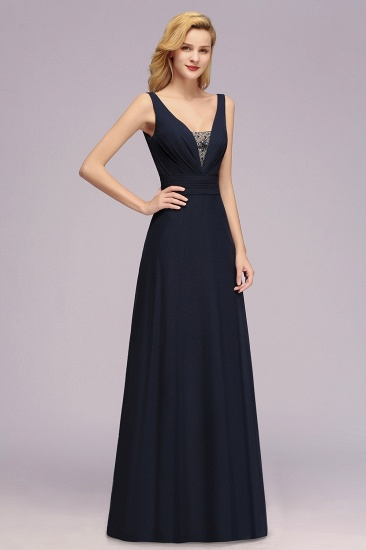 Modest Chiffon V-Neck Long Bridesmaid Dress Online with Beadings_3