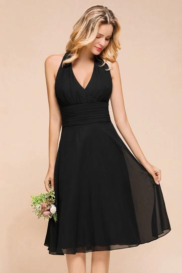 BMbridal Affordable Halter V-Neck Black Short Bridesmaid Dresses Online_9