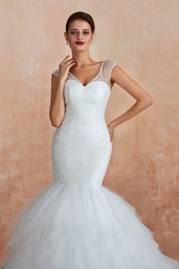 Sparkly Mermaid Sweetheart White Tulle Wedding Dresses with Sequins_10