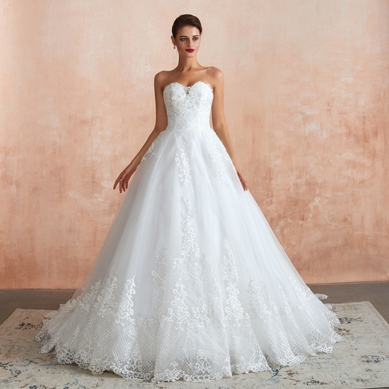 Stylish Strapless White Lace Cheap Wedding Dress Online with Low Back_3