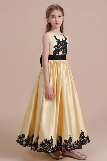 BMbridal A-Line Chic Bow Appliques Satin Flower Girl Dress Online_5