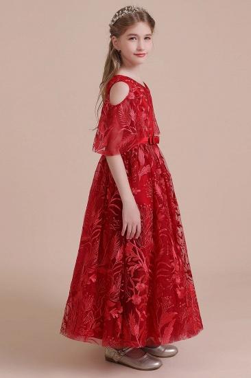 BMbridal A-Line V-neck Tulle Cold-shoulder Flower Girl Dress On Sale_8