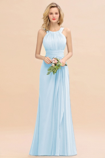 Elegant Round Neck Sleeveless Stormy Bridesmaid Dress with Ruffles_23